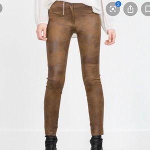 Zara faux camel suede button fly legging - Sz S